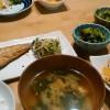 水かけ菜と鯖の焼き物