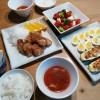 鶏唐揚げ&ズッキーニのツナマヨ焼き