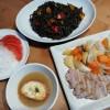 豚バラ肉のオーブン焼きとイカ墨パスタ