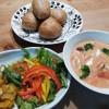 牡蛎のミルクトマトスープ&カボチャのサラダ