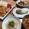 カニの炊き込みご飯、ささみの焼き鳥風、焼きナスの夕ごはん