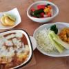 カレードリアとカボチャサラダ、朝ごはんはにんじんスープ
