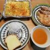 キッシュ風卵焼きとパンの朝ごはん