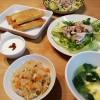 中華おこわと雑穀春巻き、豚しゃぶサラダの献立