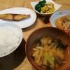 ぶりのしょうゆ麹漬、カボチャのサラダ、切り干し大根の煮物の夕ごはん