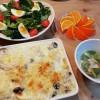 シーフードグラタンとレタスのサラダ