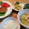 レンコン豆腐ハンバーグ、マカロニサラダ
