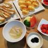 卵サンド&ハムサンドの朝ごはん