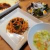 ツナトマトのスパゲッティ&アスパラポテト焼き