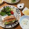 スモークサーモンサンド&白菜ミルクスープ