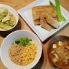 三色丼と雑穀春巻