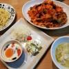 海老のトマトソーススパゲッティ、フラメンカエッグの献立