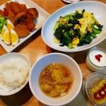 豚肉と大根の煮物、ターサイと卵の炒め物
