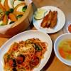 プッタネスカと蒸し野菜の献立