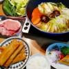 もちあわ春巻き、白菜と豚肉のお鍋の献立