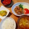 カボチャのサラダ、豚肉と玉ねぎの生姜焼きの献立