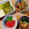ねぎとろ丼、根菜の煮物