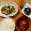キャベツと豚肉の炒め物、きゅうりとわかめの酢もの