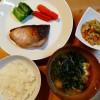 ぶりの塩こうじ焼き、高野豆腐の炒り煮の献立