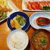 筍天ぷら、なすの味噌田楽の献立