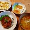 鯛の漬け丼、豆腐の野菜あんかけの献立