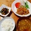 ひじきの彩りサラダ、豚肉の生姜焼きの献立