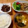 豚の生姜焼き、ひじきの煮物