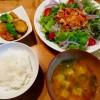 冷しゃぶサラダ、根菜の甘辛炒め