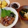 アジ漬け丼、ひじきの煮物の献立