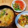 野菜タンメン、豚キャベツ味噌炒め