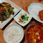 小松菜と春雨の炒め物、さつまいものサラダ