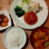 豆腐ハンバーグ、刻み昆布の煮物の献立