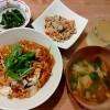親子丼、卯の花炒り煮