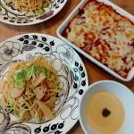 筍と春キャベツのパスタ、茄子ミートグラタン