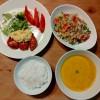 チキン南蛮、かぼちゃのスープ、キヌアのサラダ