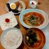豆腐ハンバーグ野菜あんかけ、長芋サラダ