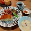 卵サンド、イチジクと生ハムのサラダ