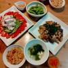 中華おこわ、豚肉と茄子の味噌炒め